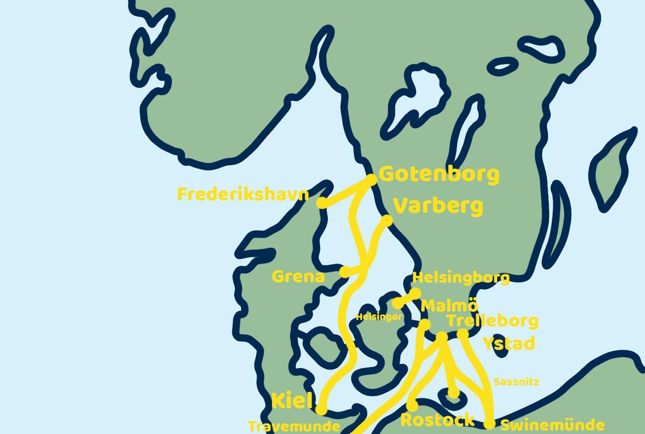 Scandinavië ferry overtocht kaart Zweden