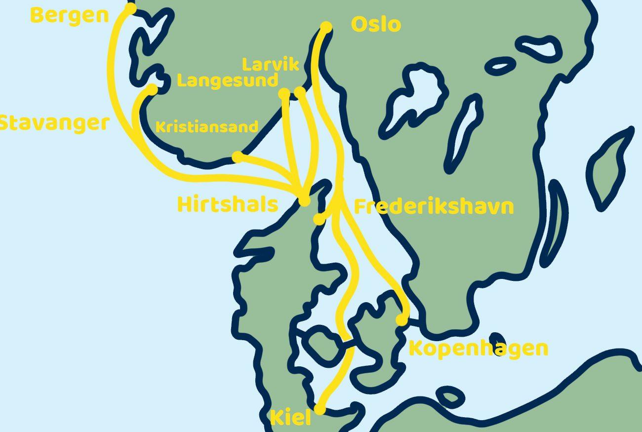 Scandinavië overtocht ferry kaart noorwegen